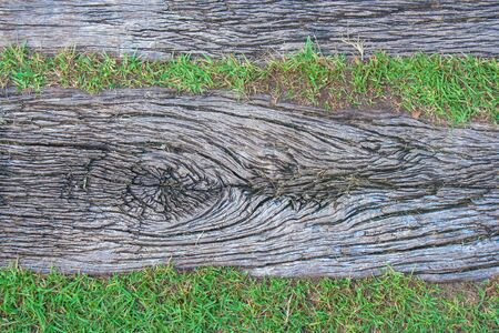 Top view texture of wooden pathway at public park. Stok Fotoğraf