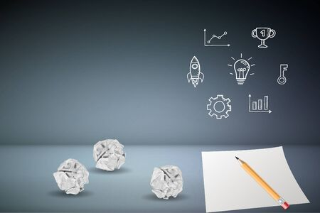 Business Creative and Planning concept : Pencil on white paper with crumpled paper ball on gray floor and business elements on gray background. (3D Illustration)