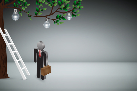 Business Creative and Idea Concept : Business man climbing white ladder to pick up light bulb hanging on tree branches. (3D Illustration) Stok Fotoğraf
