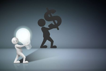 Business Creative and Idea Concept : Business man carry light bulb and shadow of them on gray wall. (3D Illustration) Stok Fotoğraf