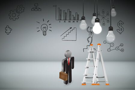 ceiling: Business Creative and Idea Concept : Business man climbing white metal ladder to pick up light bulb hanging on ceiling. (3D Illustration)