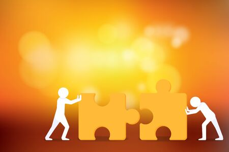 Business Creative and Teamwork Concept : Two person trying to connect couple jigsaw puzzle piece with sunlight background. Stok Fotoğraf - 82605447