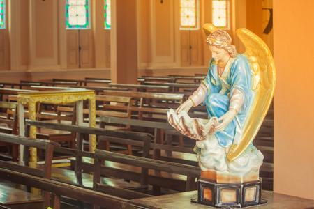 Het mooie beeldhouwwerk in het Rooms-katholieke Bisdom is openbare plaats in Chanthaburi Provincie, Thailand. Stockfoto