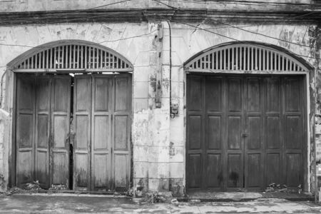 Architecture old wooden door with vintage buildings in European style. Stok Fotoğraf