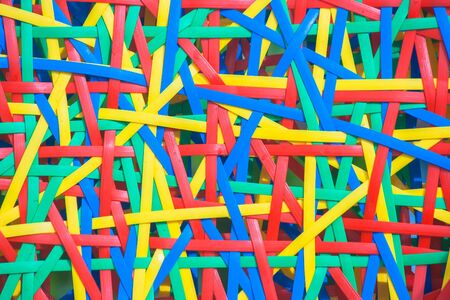 Close up abstract image or texture of colorful plastic weave. Stok Fotoğraf