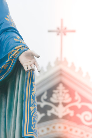 Hand of The Blessed Virgin Mary statue standing in front of The Roman Catholic Diocese that is public place at Chanthaburi Province, Thailand. Stok Fotoğraf - 83700372