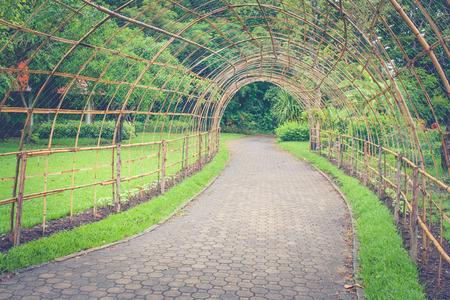 Houten de tunnelgang van de bamboe of voetpad in openbaar park. (Herfstfiltereffect)