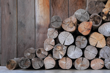 old tools: A pile of wood in the cabin storage of peasant agriculture