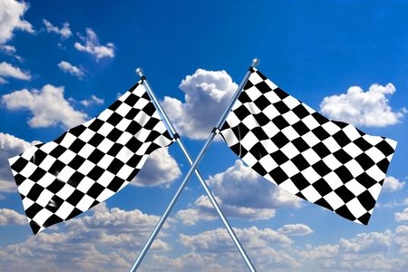 Waving a checkered flag on sky background photo