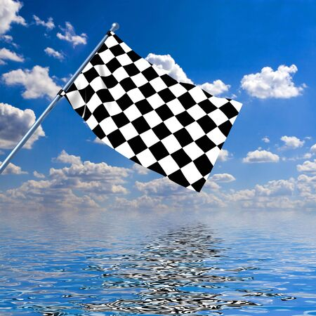 Waving a checkered flag on sky background Stock Photo - 2215648