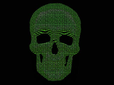 binary matrix: binary code & skull of the skeleton