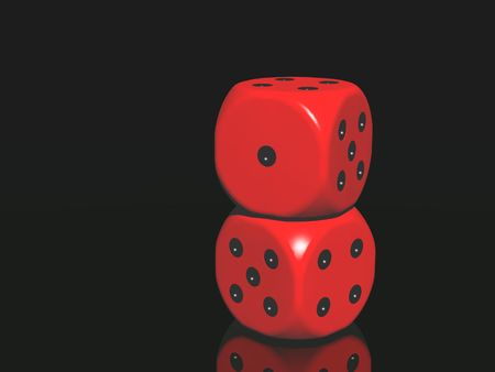 red dices on black background  photo