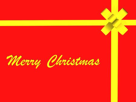 yellow gift ribbon and bow isolated on red background Stock Photo - 2215801