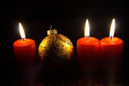 Three candles & christmas decoration   photo