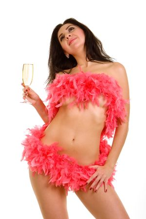 Sexy woman and goblet with champaign Stock Photo - 2232030