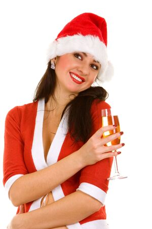 Santa woman and goblet with champaign photo