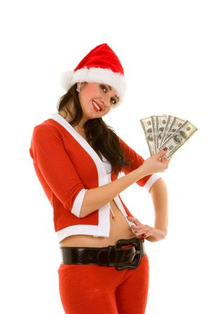 happy santa woman with money Stock Photo - 2232024