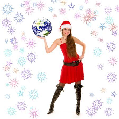 pretty santa woman and christmas Earth photo
