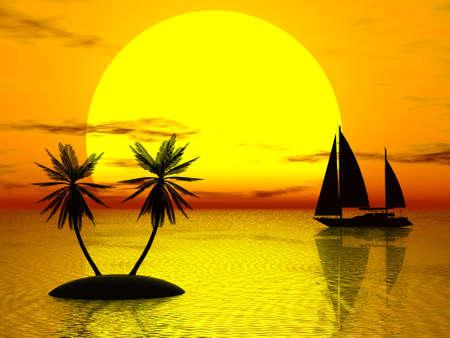 Orange sunset, boat, palm (see more in my portfolio) photo
