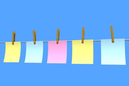 blank note papers in blue background photo