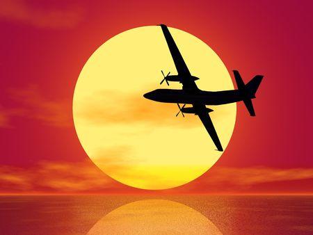 sundown and plane silhouette (see more in my portfolio) Stock Photo - 2516481