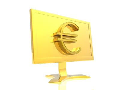 golden monitor and euro sign isolated over white background photo