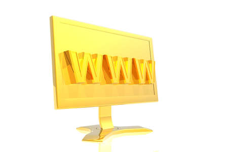 golden monitor and www sign isolated over white background Stock Photo - 2571367