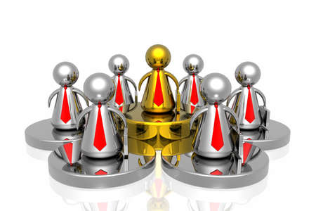 singular: golden leader and business team Stock Photo