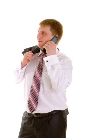 business man with telephone isolated in white background Stock Photo - 2606167
