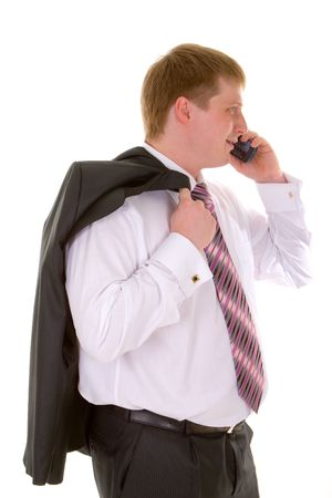 business man with telephone isolated in white background Stock Photo - 2606171