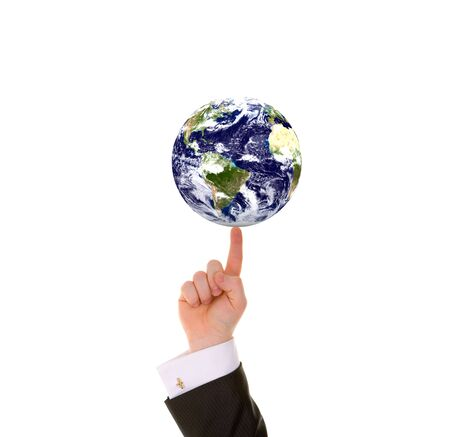 businessman carrying a globe: Businessman hand and Earth