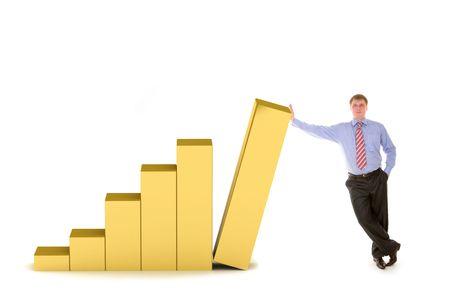 individual: business man and diagram of success