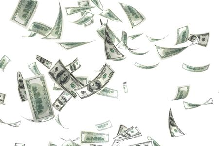 3d money falling in the white background Stock Photo - 2750921