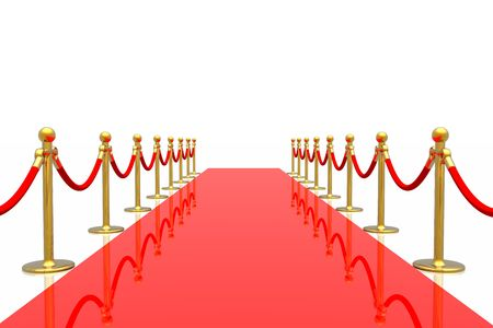 red line: Red carpet isolated in white background
