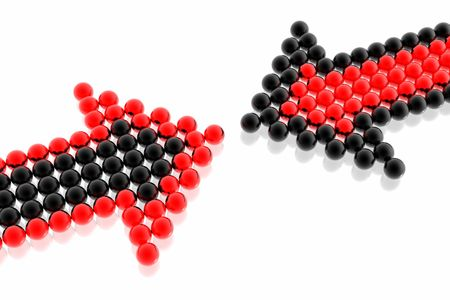 connection block: business strategy of red and black team isolated in white background