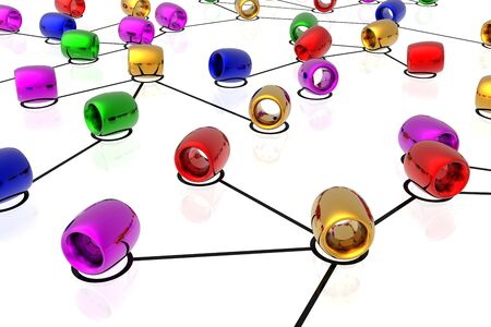 3d network connections isolated in white background photo