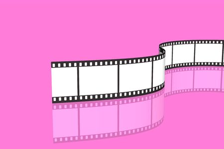 blank film strip isolated over pink background photo