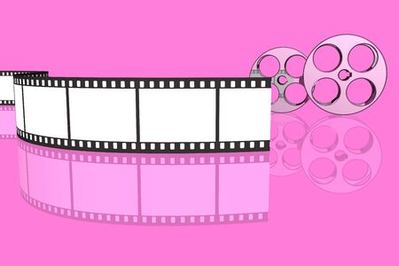 blank film strip and reels isolated over pink background photo