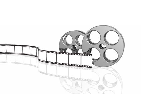 blank film strip and reels isolated over white background photo
