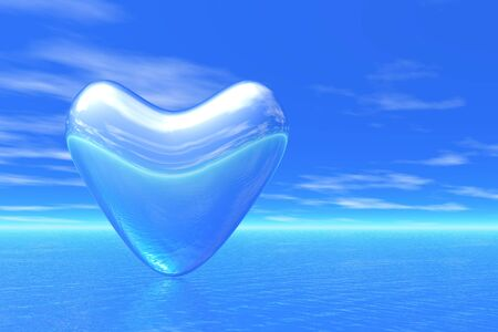 crystal heart and nature background photo