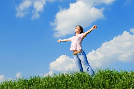 happy young woman dreams to fly on winds Stock Photo - 3149644