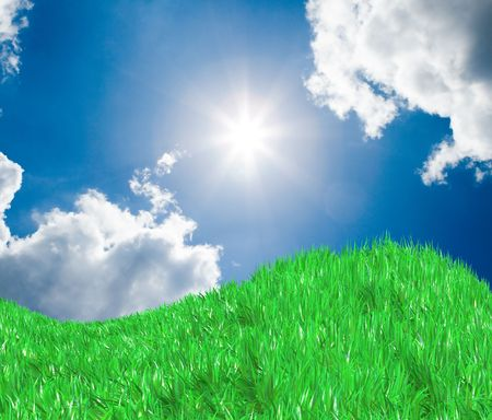 Fresh green grass on blue sunny sky background photo
