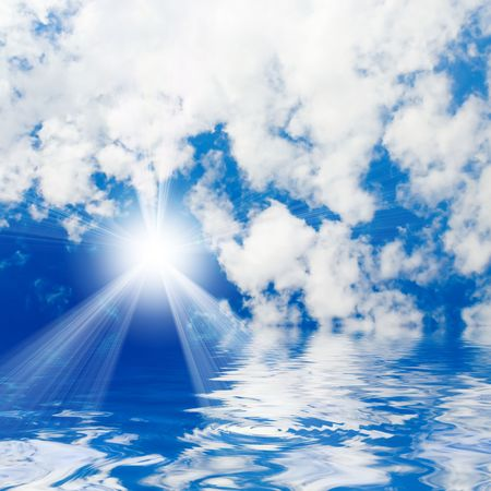blue sea and sunny sky background Stock Photo - 3251236