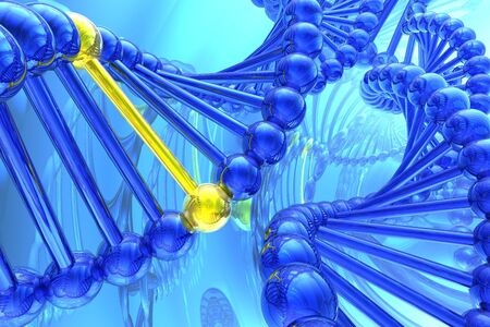 medicament: Golden nucleotide from a DNA isolated in white background Stock Photo