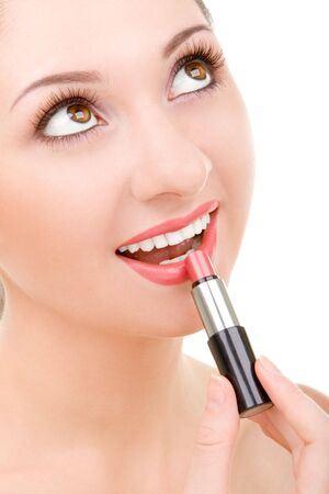 Pretty young woman with lipstick Stock Photo - 3368779