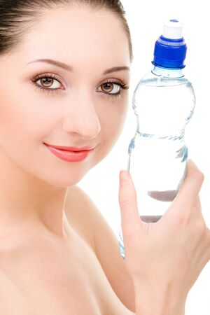 pretty woman with bottle of clean water photo