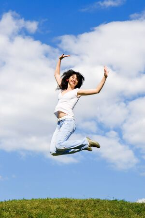 pretty young woman is jumping Stock Photo - 3699185