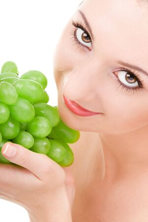 pretty woman with green grape isolated on the white background Stock Photo - 3699183