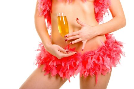 Sexy woman and goblet with champaign photo