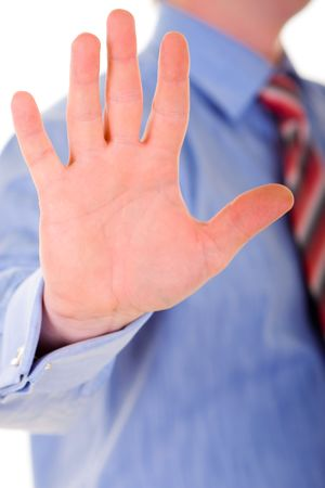 Business man hand gesture isolated in white background Stock Photo